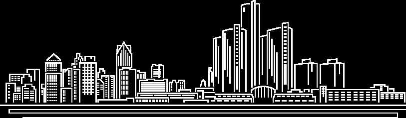 detroit mi white outline of skyline